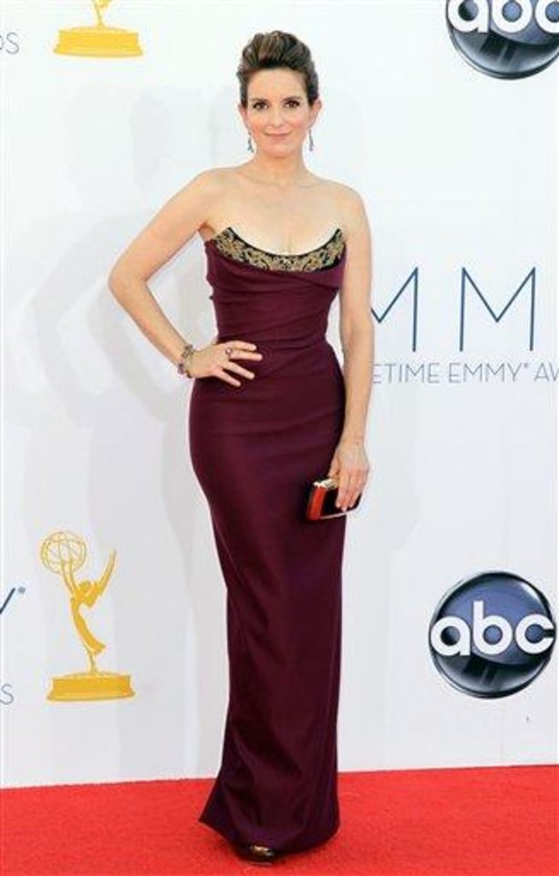 Photo - Tina Fey arrives at the 64th Primetime Emmy Awards at the Nokia Theatre on Sunday, Sept. 23, 2012, in Los Angeles. (Photo by Matt Sayles/Invision/AP)