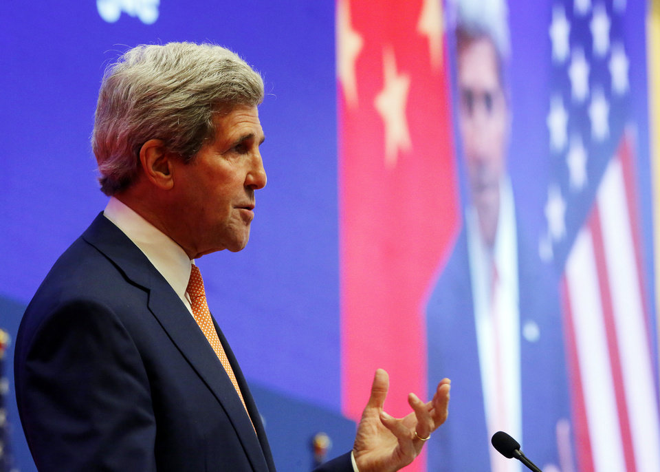 Photo - U.S. Secretary of State John Kerry addresses the joint opening session of the U.S.-China Strategic and Economic Dialogue known as the