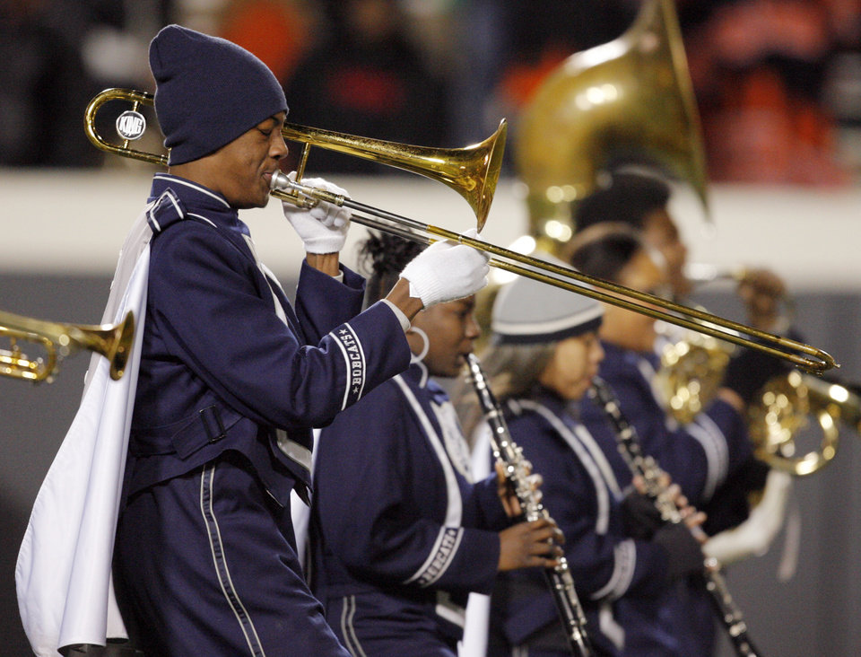 Photo - The Star Spencer band performs during the Class 4A high school football state championship game between Star Spencer and Douglass at Boone Pickens Stadium in Stillwater, Okla., Saturday, December 5, 2009. Photo by Nate Billings, The Oklahoman