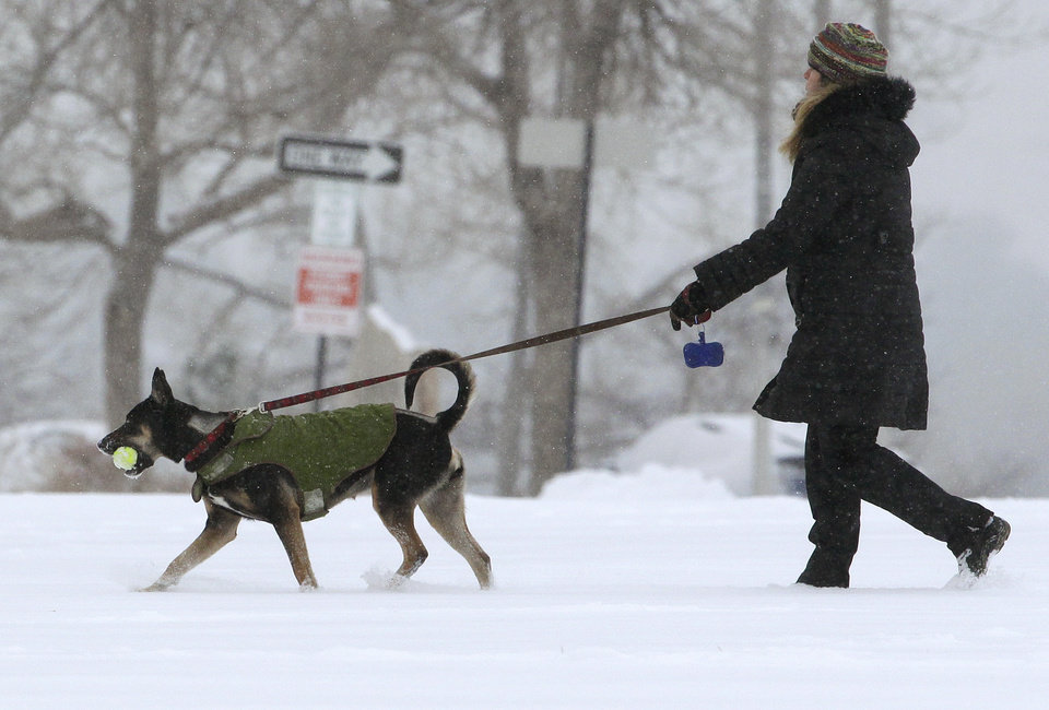 Photo - A woman walks her dog as a blizzard dropped snow over Boulder, Colo., Wednesday Dec. 19, 2012. A storm that has dumped more than a foot of snow in the Rocky Mountains is heading east and is forecast to bring the first major winter storm of the season to the central plains and Midwest. (AP Photo/Brennan Linsley)