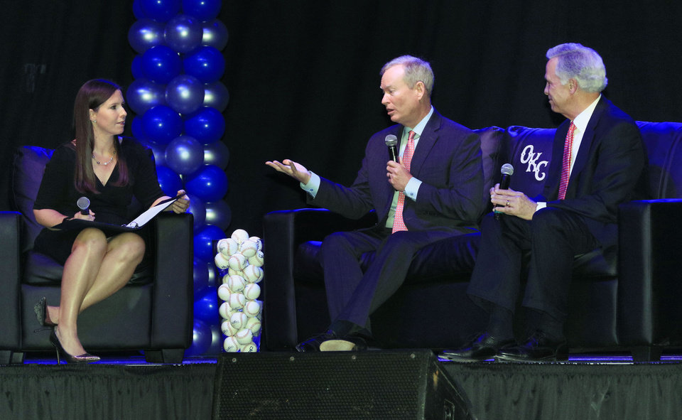 Photo -  The Oklahoman's Jenni Carlson conducts a panel discussion with Oklahoma City Mayors Mick Cornett and Kirk Humphreys during an OKC Dodgers luncheon on Wednesday to celebrate the 20th season at Chickasaw Bricktown Ballpark. [Photo by Paul Hellstern, The Oklahoman]