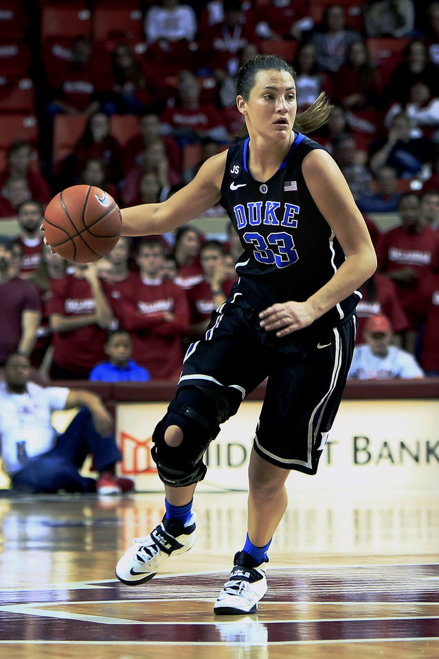 Duke Haley Peters drives down the court against Oklahoma during the first half of an NCAA college basketball game in Norman, Okla., Sunday, Dec. 8, 2013. (AP Photo/Alonzo Adams)