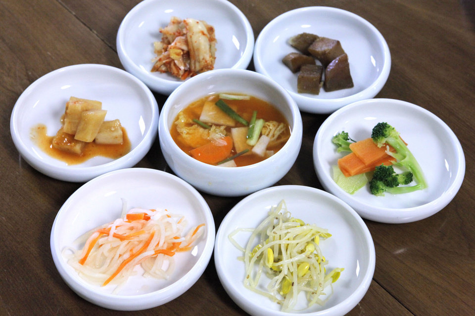 Meals at Jeon Ju begin with banchan, a collection of condiments including kimchee. <strong>David McDaniel - The Oklahoman</strong>