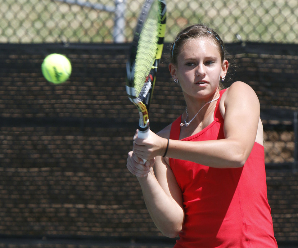Photo - Metro Christian's Becca Richison plays against Pryor's Katarina Webster during the 5A Girl's state tennis tournament at the OKC Tennis Center in Oklahoma City, OK, Friday, May 9, 2014,  Photo by Paul Hellstern, The Oklahoman