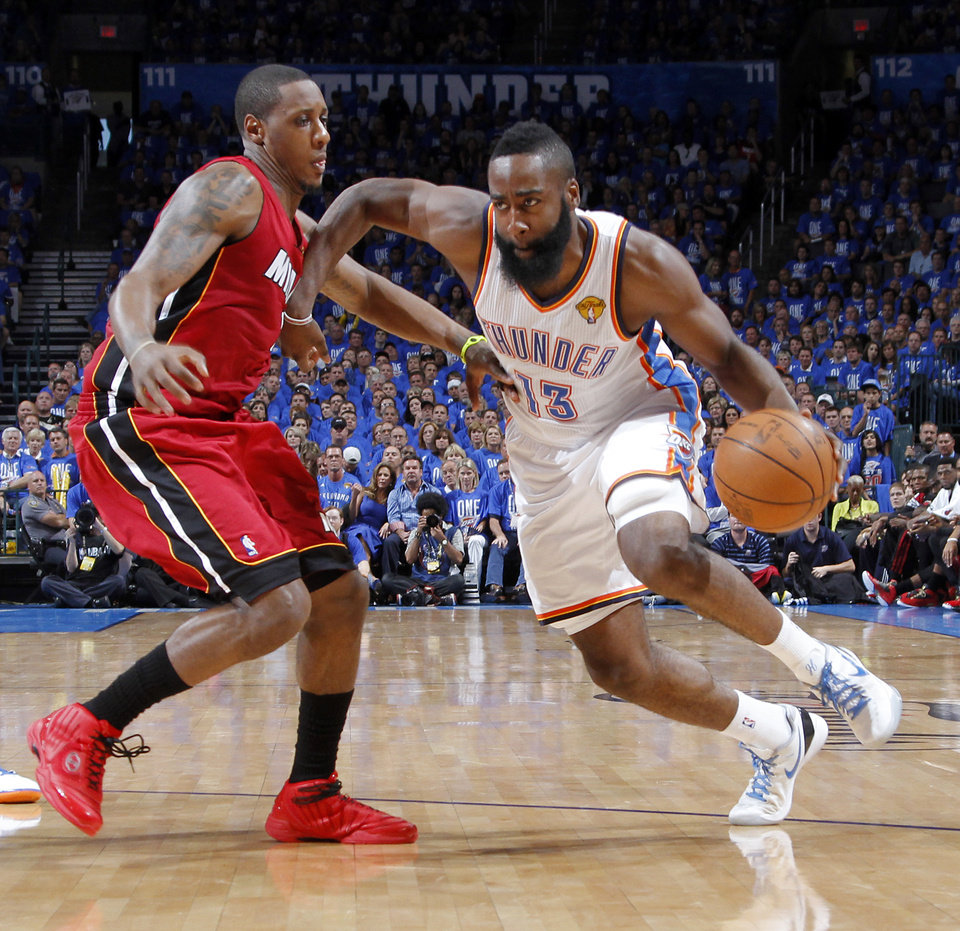 Oklahoma City's James Harden (13) tries to get past Miami's Mario Chalmers (15) during Game 1 of the NBA Finals between the Oklahoma City Thunder and the Miami Heat at Chesapeake Energy Arena in Oklahoma City, Tuesday, June 12, 2012. Photo by Chris Landsberger, The Oklahoman