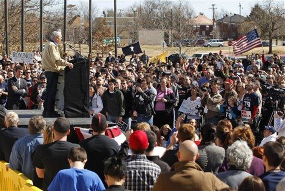 Republican presidential candidate Rep. Ron Paul, R-Texas, speaks at a rally in Oklahoma City, Saturday, Feb. 25, 2012. (AP Photo/Sue Ogrocki)