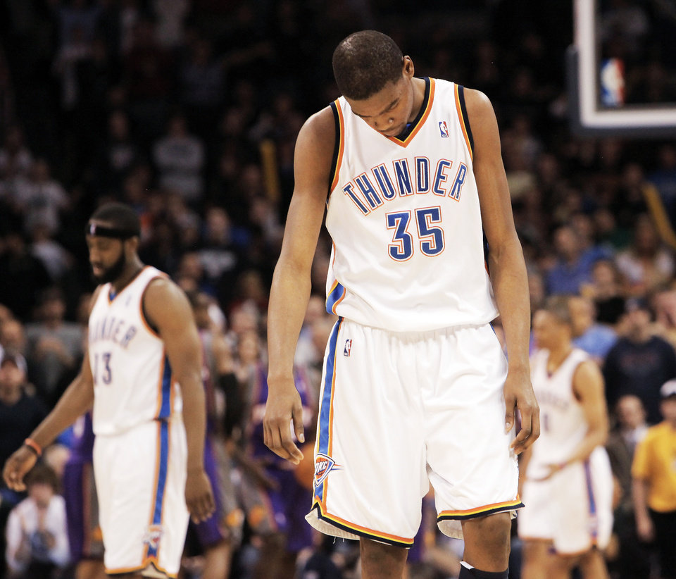 Thunder forward Kevin Durant reacts late in Oklahoma City's 104-102 loss to the Phoenix Suns on Tuesday at the Ford Center. PHOTO BY NATE BILLINGS, THE OKLAHOMAN