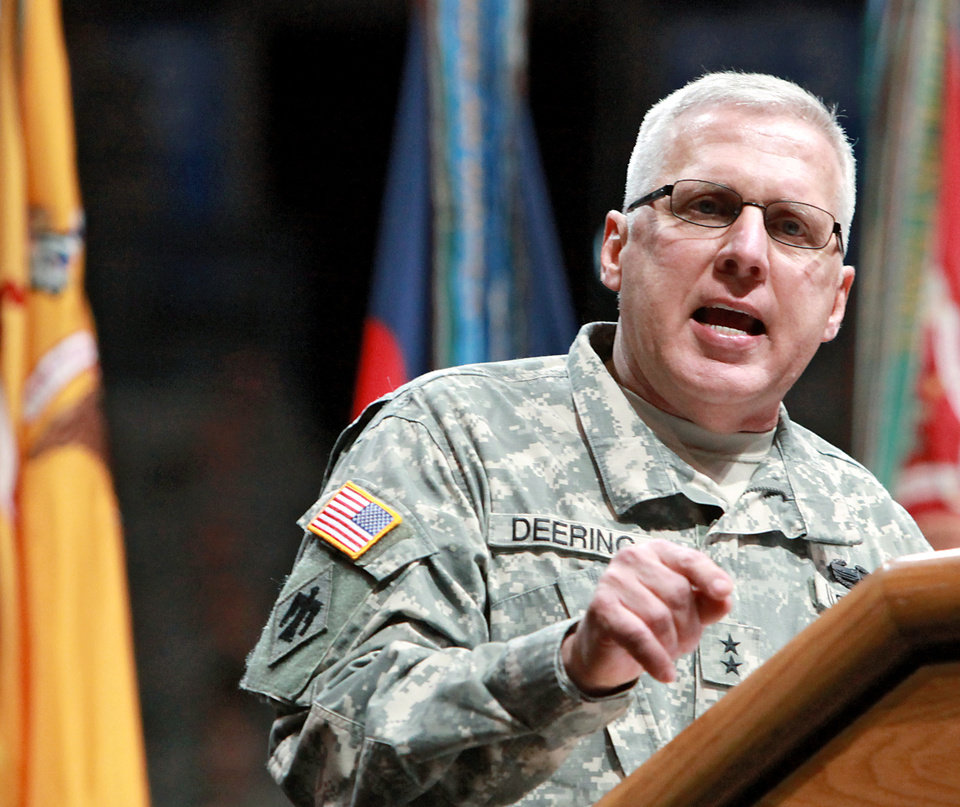 MILITARY DEPLOYMENT / MAG. GEN. MYLES DEERING / OKLAHOMA CITY ARENA: Major General Myles L. Deering speaks during a deployment ceremony for members of the 45th Infantry Brigade Combat Team at The OKC Arena in Oklahoma City on Wednesday, Feb. 16, 2011. Photo by John Clanton, The Oklahoman