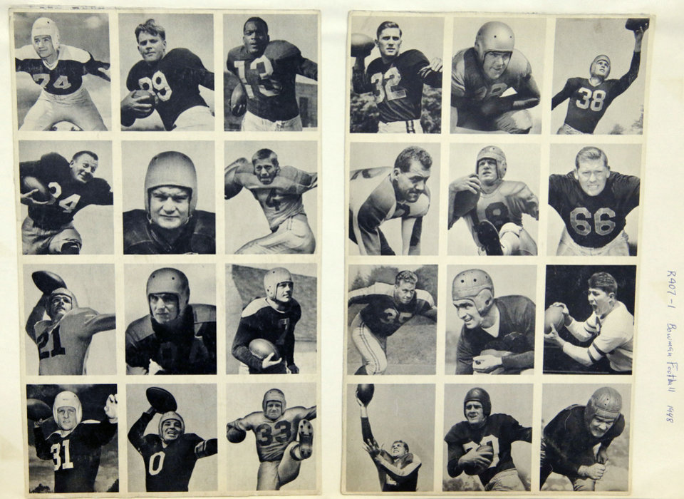 Photo - This 1948 rare uncut set of Bowman football trading cards shown Wednesday, Jan. 8, 2014, at the Metropolitan Museum of Art in New York, ushered in the modern era of football cards. The set is part of a pop-up exhibition celebrating football's history through the ages with vintage trading cards. The 150 cards, including a series from 1894, are among approximately 600 from the museum's vast collection of sport trade cards donated to the Met by the late hobby pioneer Jefferson Burdick. Sunday, Jan. 12, 2014, in New York. The exhibit  runs Jan. 24 through Feb. 10. (AP Photo/Kathy Willens)