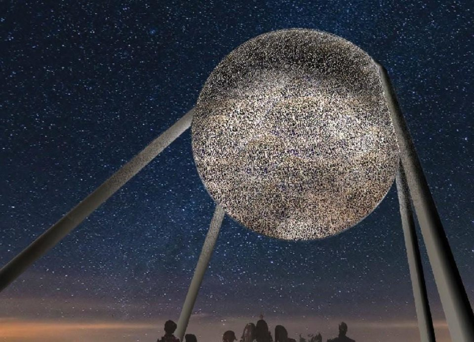 Photo -  Taking Flight, the sculpture planned for Scissortail Park, is going through a redesign in response to plans by the Thunder to include a giant basketball sculpture across the street as part of a planned Thunder Alley entertainment center. [STUDIO KCA]