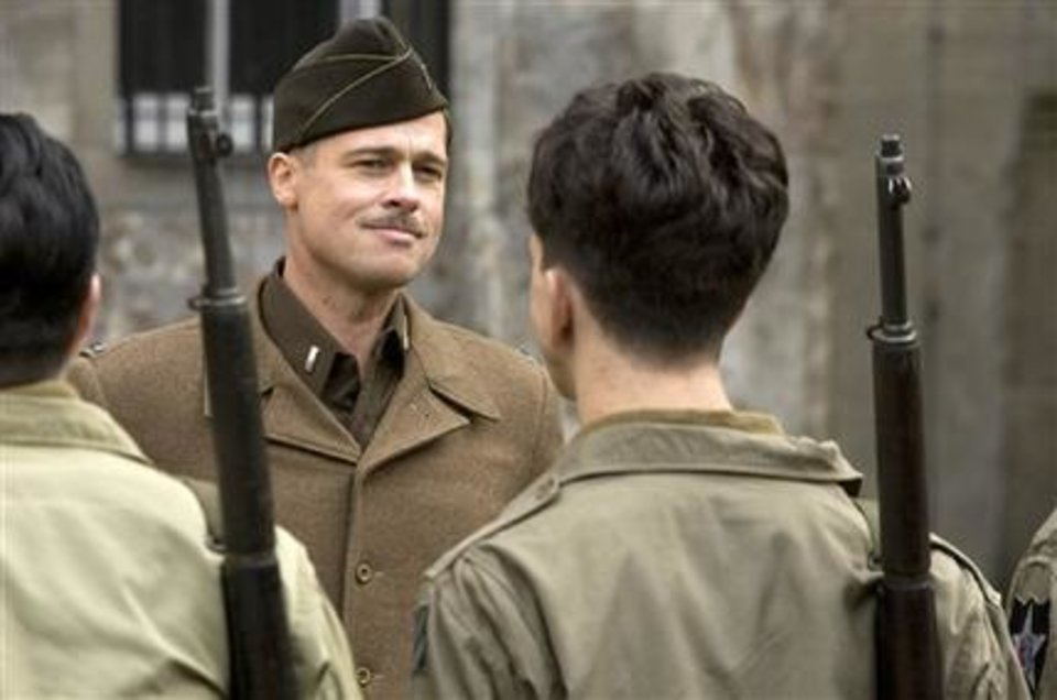 "In this film publicity image released by The Weinstein Co., Brad Pitt is shown in a scene from, ""Inglourious Basterds."" AP Photo"