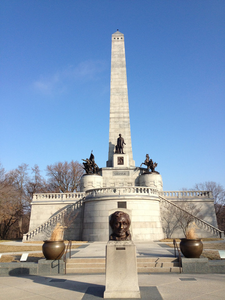Photo -  The Lincoln tomb is the final resting place of our 16th president. It holds many exquisite statues of Abraham Lincoln. Visitors frequent the bronze bust by Gutzon Borglum to rub Lincoln's nose for good luck. PHOTO PROVIDED BY NANCY LEONARD