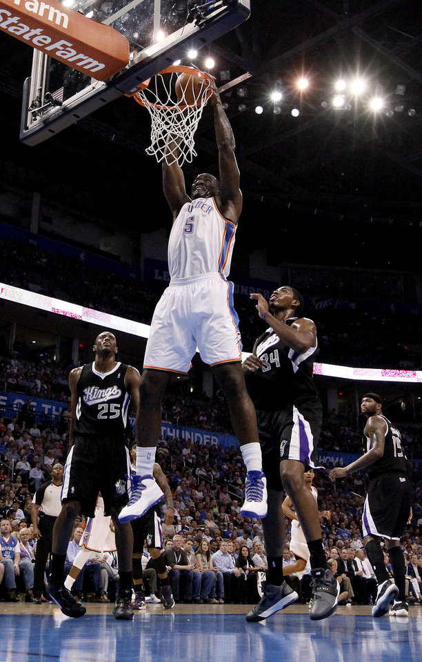Oklahoma City's Kendrick Perkins (5) during the NBA basketball game between the Oklahoma City Thunder and the Sacramento Kings at Chesapeake Energy Arena in Oklahoma City, Tuesday, April 24, 2012. Photo by Sarah Phipps, The Oklahoman.