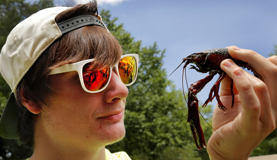 Photo -  Festival visitor Ashton Maddux, 18, studies a live crawfish he pulled from a large tub of water at Yukon's Chisholm Trail Crawfish Festival. Photo by Jim Beckel, The Oklahoman   Jim Beckel -