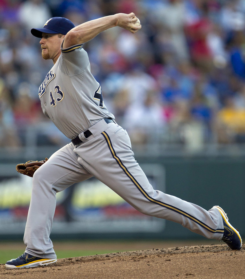 Photo -   Milwaukee Brewers starting pitcher Randy Wolf (43) throws to Kansas City Royals' Alex Gordon during the first inning of a baseball game at Kauffman Stadium in Kansas City, Mo., Wednesday, June 13, 2012. (AP Photo/Orlin Wagner)