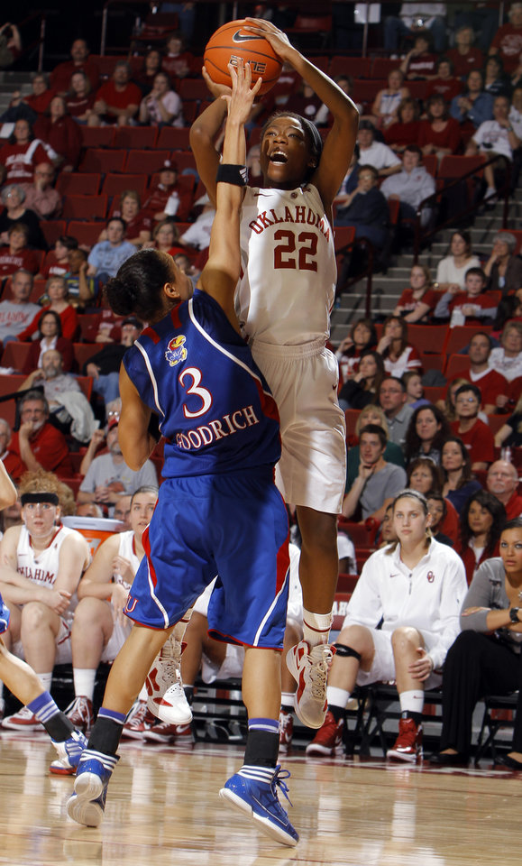 Oklahoma's DaShawn Harden (22) shoots over Kansas' Angel Goodrich (3) during the women's college basketball game between the Oklahoma Sooners and the Kansas Jayhawks at the LLoyd Noble Center in Norman, Okla., Sunday, March, 4, 2011. Photo by Sarah Phipps, The Oklahoman