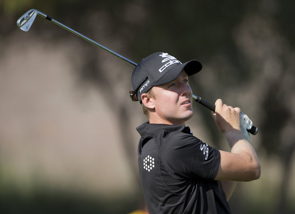 Photo -   Jonas Blixt of Sweden, tees off the eighth hole during the second round of the Justin Timberlake Shriners Hospitals for Children Open golf tournament, Friday, Oct. 5, 2012, in Las Vegas. (AP Photo/Julie Jacobson)