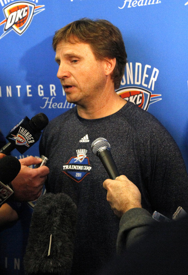 Oklahoma City head coach Scott Brooks talks to the media during Oklahoma City Thunder's practice at their new facility in Oklahoma City, Friday, Dec. 9, 2011. Photo by Sarah Phipps, The Oklahoman