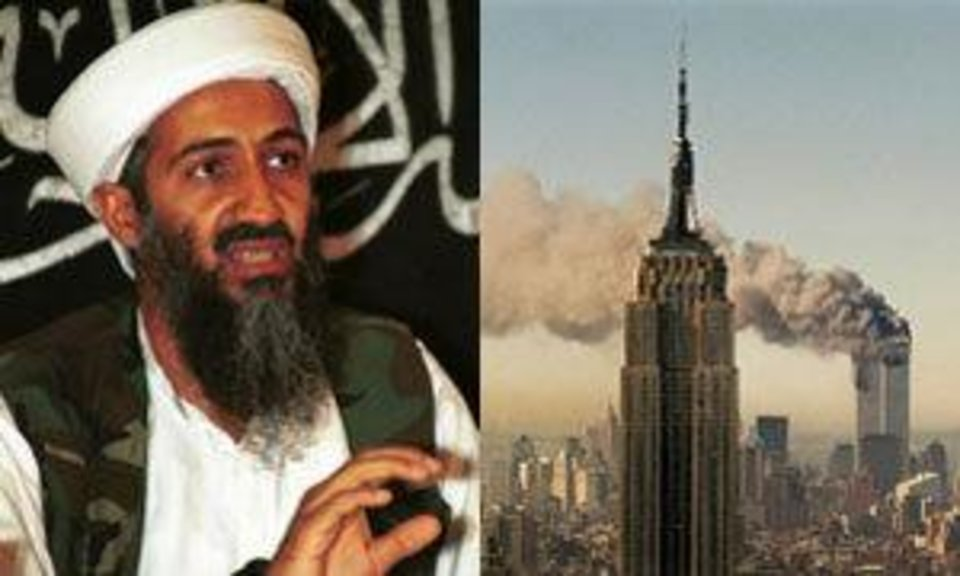 Photo - 1998 file photo of Osama bin Laden speaks to the journalists in Khost, Afghanistan - (AP Photo/Mazhar Ali Khan, File) -   In this Sept. 11, 2001 file photo, the twin towers of the World Trade Center burn behind the Empire State Building in New York. (AP Photo/Marty Lederhandler, File)