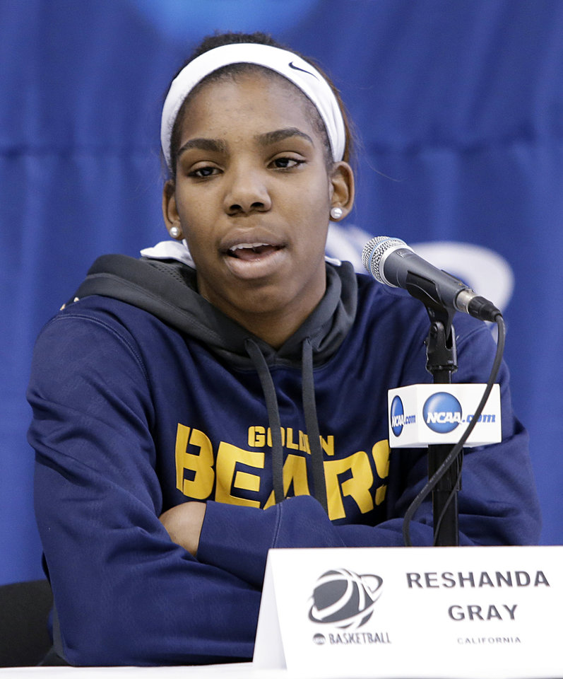 Photo - California's Reshanda Gray responds to a question during an NCAA college basketball tournament news conference, Sunday, March 23, 2014, in Waco, Texas. California is scheduled to play Baylor on Monday. (AP Photo/Tony Gutierrez)