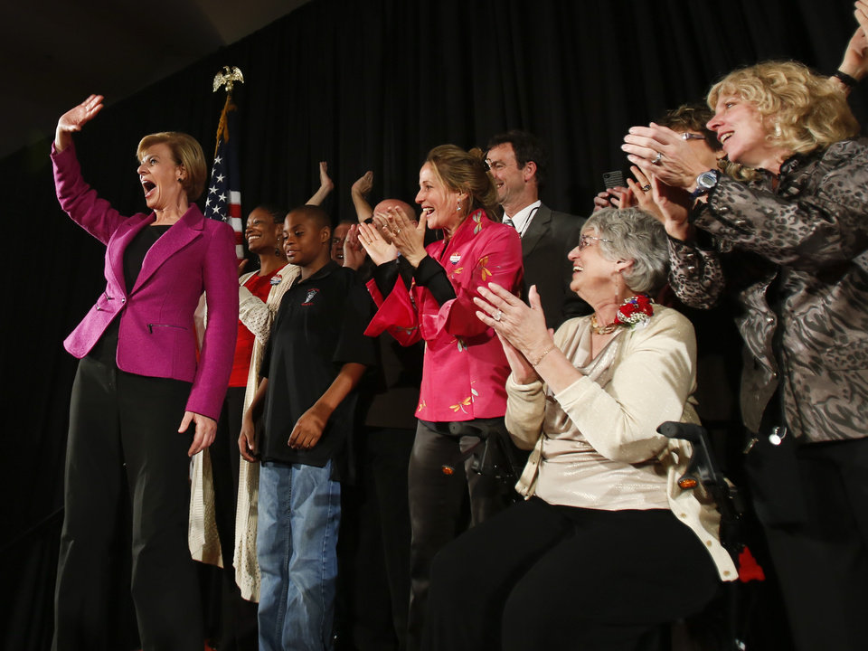 FILE - In this Tuesday, Nov. 6, 2012 file photo, U.S. Rep. Tammy Baldwin, D-Madison, waves to supporters on her way to make a victory speech in Madison, Wis. Baldwin will be one of a record 20 women, and the first openly gay senator, in the next Senate, 17 of them Democrats. (AP Photo/Andy Manis)