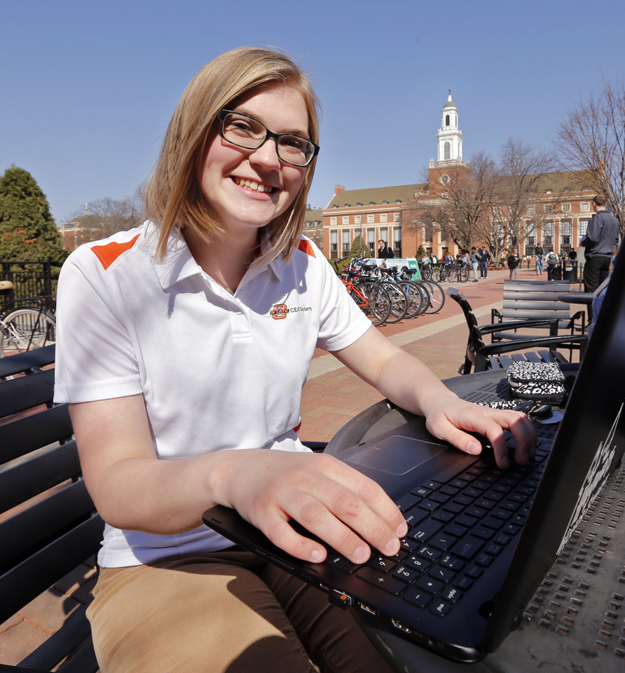 Photo -  Courtney Andrews, of Stillwater, who just completed her first year at Oklahoma State University, talks about how the pre-engineering program at Meridian Technology Center prepared her for success at OSU. [Photo by Steve Sisney, The Oklahoman]