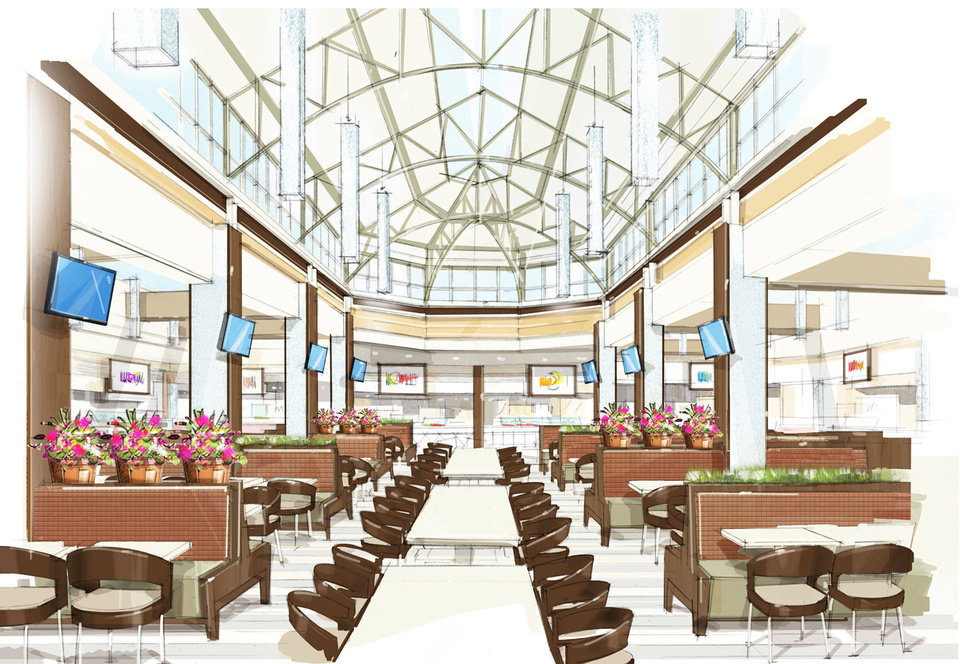 Photo - An artist's rendering of the inside of the Penn Square Mall food court once the remodel project is complete. Photo provided