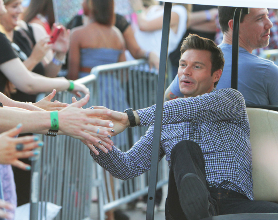 Ryan Seacrest arriving for the American Idol auditions at the Chesapeake Energy Arena in downtown Oklahoma City, Friday, July 20 , 2012. Photo By David McDaniel/The Oklahoman <strong>David McDaniel - The Oklahoman</strong>