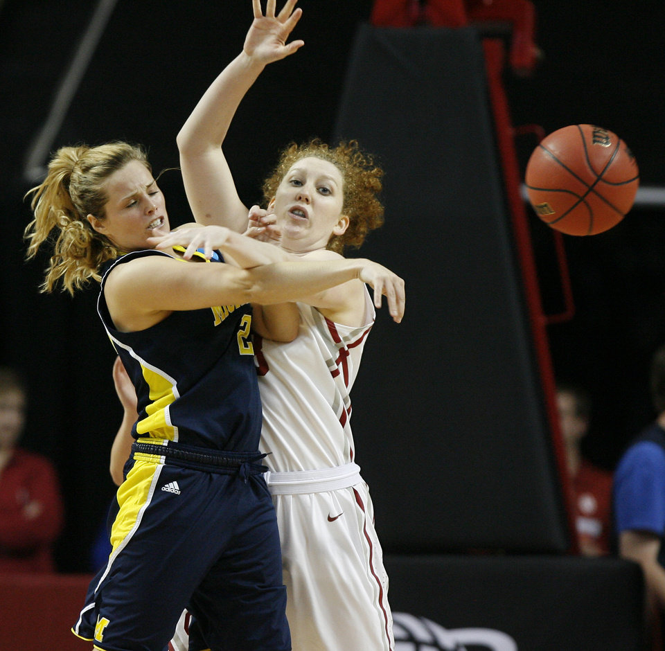 Oklahoma's Joanna McFarland (53) defends Michigan's Courtney Boylan (2) during a first round game of the NCAA women's basketball tournament between the University of Oklahoma Sooners and the Michigan Wolverines at Lloyd Noble Center in Norman, Okla., Sunday, March 18, 2012. Photo by Bryan Terry, The Oklahoman