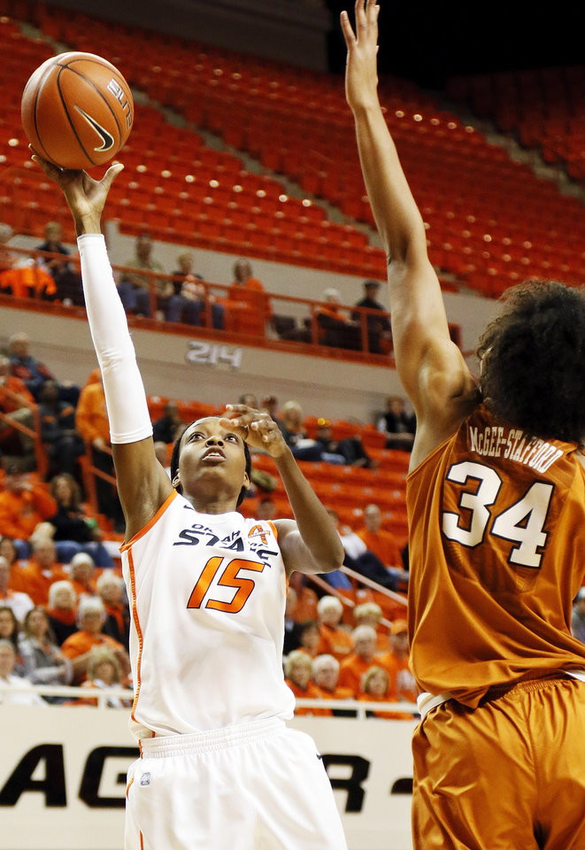 Oklahoma State's Toni Young (15) shoots against Texas' Imani McGee-Stafford (34) during a women's college basketball game between Oklahoma State University (OSU) and the University of Texas at Gallagher-Iba Arena in Stillwater, Okla., Saturday, March 2, 2013. Photo by Nate Billings, The Oklahoman