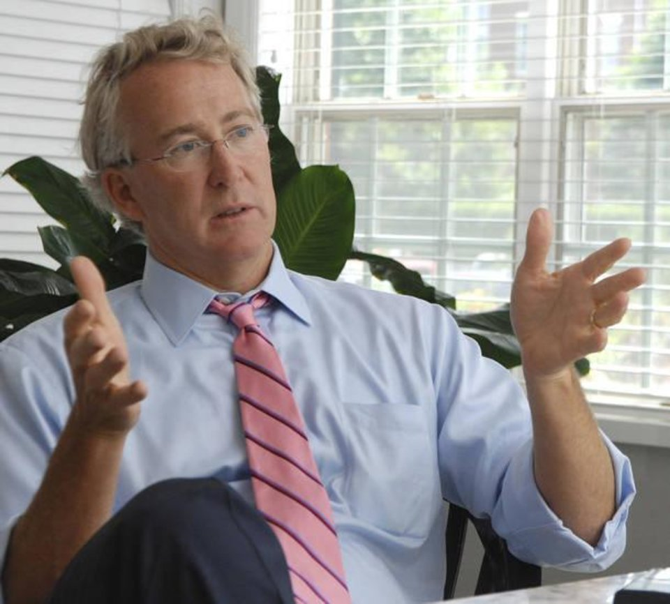 Photo - FILE - In this Aug. 2, 2007, file photo, Chesapeake Energy CEO Aubrey McClendon speaks during an interview in Oklahoma City. Oklahoma City police say McClendon, a natural gas industry titan who was indicted on Tuesday, March 1, 2016, by a federal grand jury for allegedly conspiring to rig bids to buy oil and natural gas leases in northwest Oklahoma, was killed Wednesday in a fiery single-car crash in Oklahoma City. A part-owner of the NBA's Oklahoma City Thunder, McClendon stepped down in 2013 at Chesapeake and founded American Energy Partners, where he was chairman and CEO. (Jennifer Pitts/Journal Record via AP, File) MANDATORY CREDIT