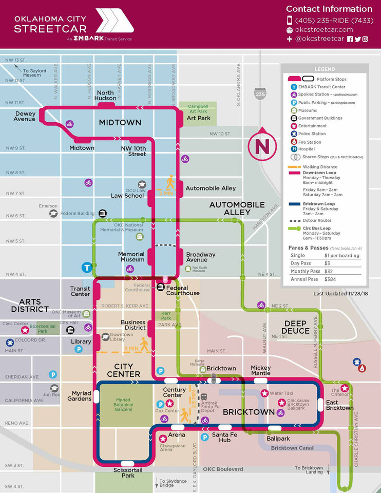 Photo -  The Oklahoma City Streetcar is designed in linear loops as shown in this service  map. [Courtesy EMBARK]
