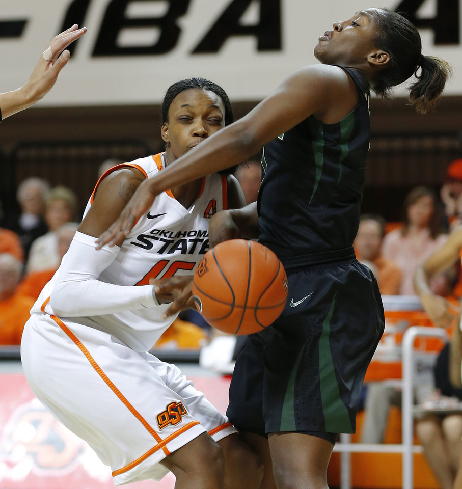 Oklahoma State's Toni Young (15) runs into Baylor's Kimetria Hayden (1) during a women's college basketball game between Oklahoma State University and Baylor at Gallagher-Iba Arena in Stillwater, Okla., Saturday, Feb. 2, 2013. Photo by Bryan Terry, The Oklahoman