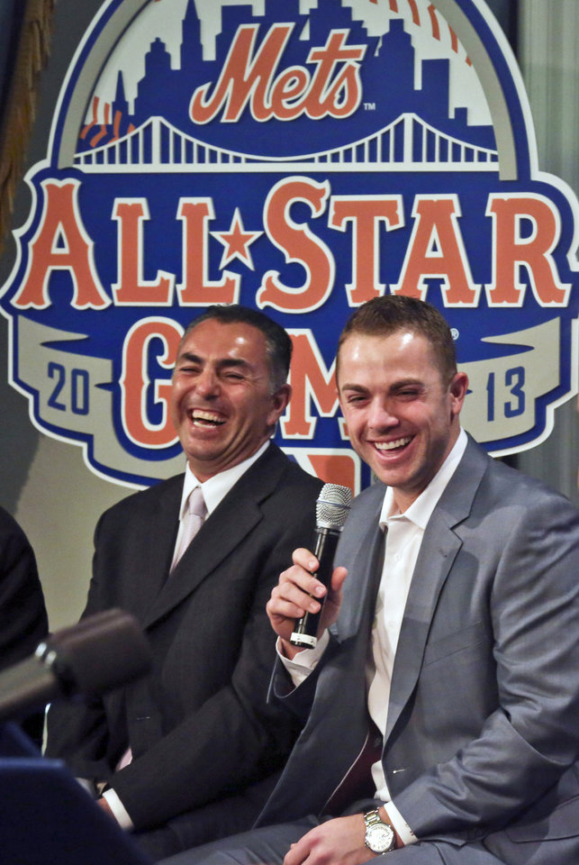 Photo - New York Mets Legend and Club Ambassador John Franco, left, and six-time All-Star New York third baseman Mets David Wright, laugh during a news conference to outline the festivities for baseball's All-Star game on Wednesday, April 24, 2013 in New York. The Mets are hosting the All-Star game on July 16. (AP Photo/Bebeto Matthews)