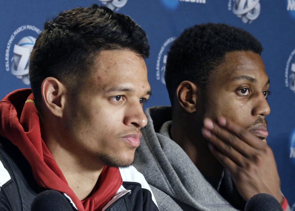 Iowa State players Chris Babb, left, and Melvin Ejim answer questions during a news conference at the NCAA men's college basketball tournament, Saturday, March 23, 2013, in Dayton, Ohio. Iowa State plays Ohio State on Sunday. (AP Photo/Al Behrman)