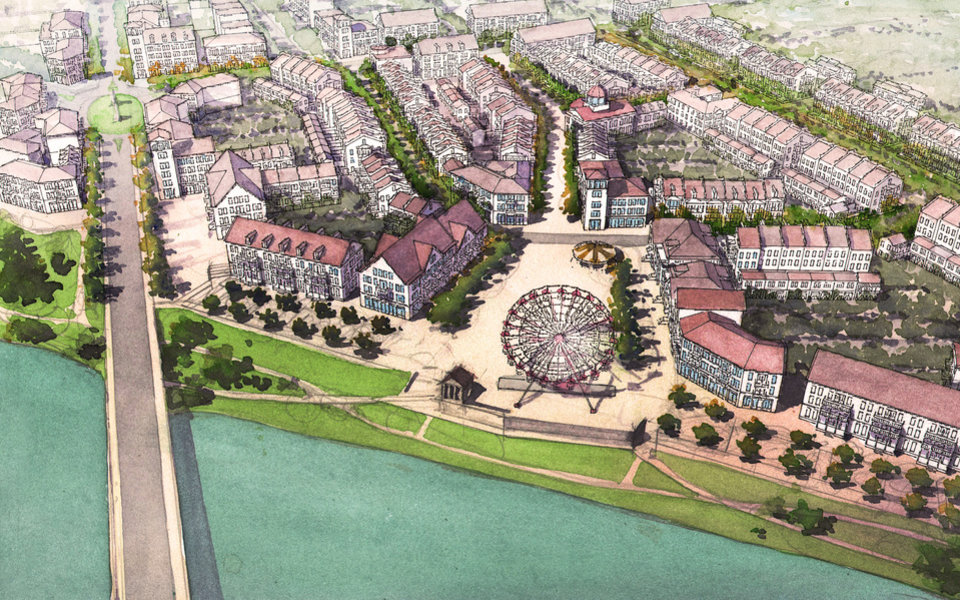 Photo - The Ferris wheel at Wheeler is envisioned as just a part of a much bigger mixed-use community soon to be built along the south shore of the Oklahoma River on both sides of Western Avenue.  Drawing Provided