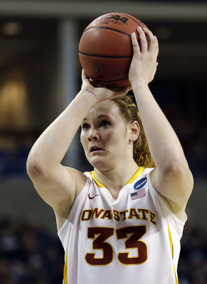 Iowa State\'s Chelsea Poppens shoots a free throw against Gonzaga in the first half during a first-round game in the women\'s NCAA college basketball tournament in Spokane, Wash., Saturday, March 23, 2013. (AP Photo/Elaine Thompson)