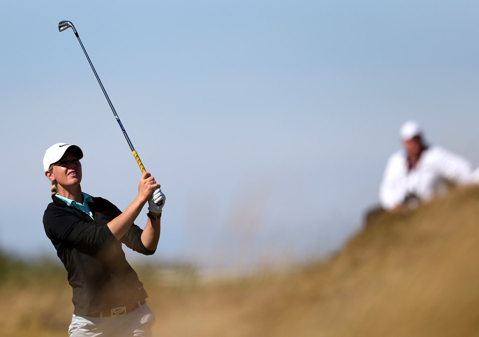 Photo - Amy Anderson of the US plays a shot on the 9th fairway during the second day of the Women's British Open golf championship on the Royal Birkdale Golf Club, Southport, England, Friday July 11, 2014. (AP Photo/Scott Heppell)