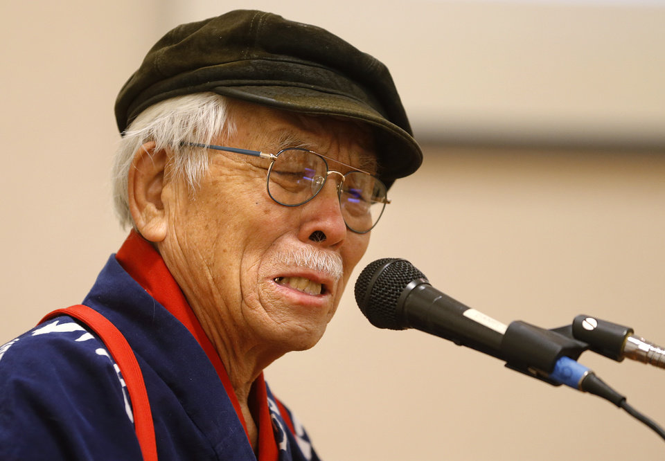 Photo -  Hiroshima bombing survivor Takashi Tanemori shares his story Saturday at First Unitarian Church in Oklahoma City. Photo by Bryan Terry, The Oklahoman   BRYAN TERRY -  THE OKLAHOMAN