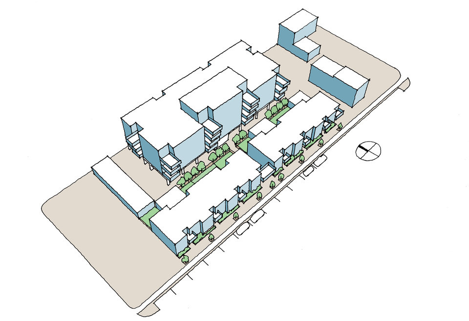 Photo -  This model drawing shows how mid-rise condominiums will be built atop secured, covered parking and will back two-story town homes facing NW 4 between Lee and Dewey Avenues. Rendering by Allford Hall Monagham Morris.