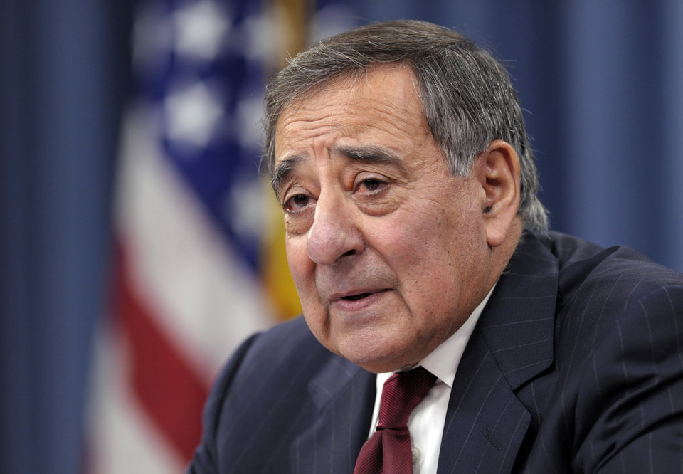 Photo - FILE - In this Feb. 13, 2013, file photo, Defense Secretary Leon Panetta speaks during his last news conference as defense secretary at the Pentagon in Washington. Republicans and other fiscal conservatives keep insisting on more federal austerity and a smaller government. Without much fanfare or acknowledgement, they've already gotten much of both. (AP Photo/Susan Walsh, File)