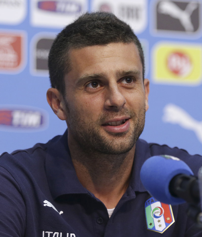 Photo - Italy's Thiago Motta speaks during a press conference at the Casa Azzurri in Mangaratiba, Brazil, Wednesday, June 18, 2014. Italy play in group D of the Brazil 2014 soccer World Cup. (AP Photo/Antonio Calanni)