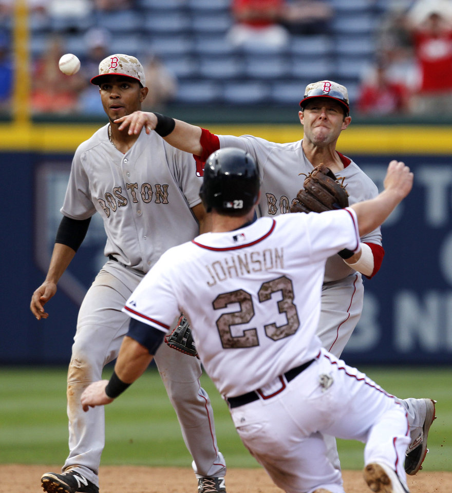 Photo - Boston Red Sox's Dustin Pedroia (15) throws to first for a double play and clinch the win as Atlanta Braves' Chris Johnson (23) slides into second base during the ninth inning of a baseball game on Monday, May 26, 2014, in Atlanta, Ga. Boston defeated Atlanta 8-6. (AP Photo/Butch Dill)
