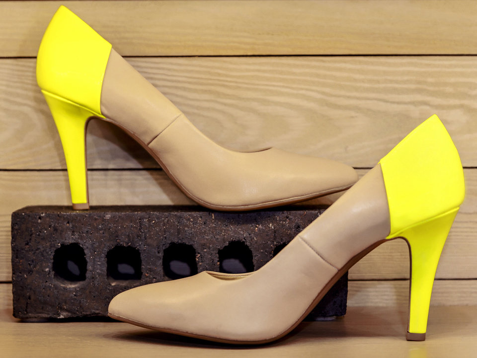 Photo - Color-blocking pumps up this pointed-toe stiletto by Seychelles from Heirloom Shoe. Photo by Chris Landsberger, The Oklahoman  CHRIS LANDSBERGER