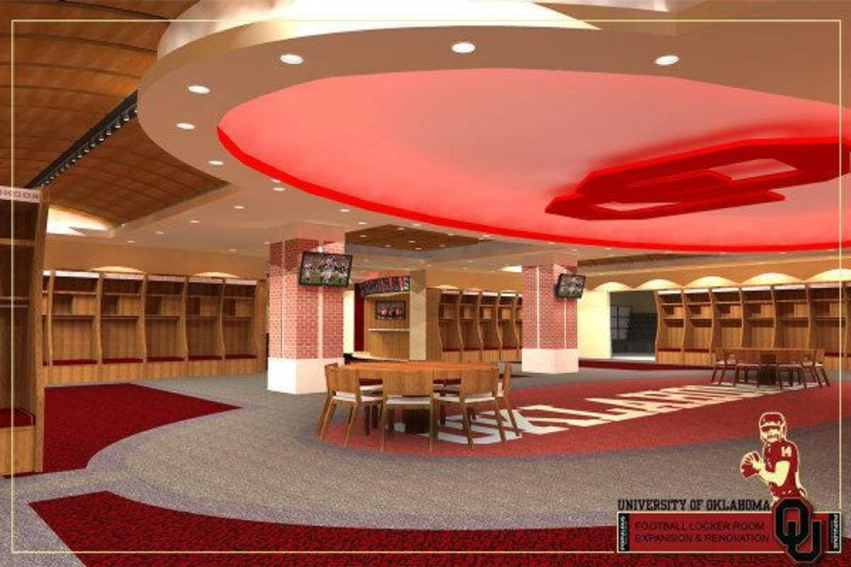 Photo - Artist rendering of the new locker room that is part of Phase IV of the renovation of Gaylord Family - Oklahoma Memorial Stadium. PHOTO PROVIDED