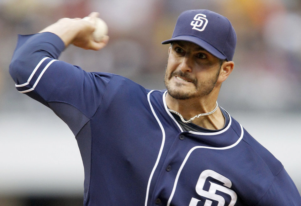 Photo -   San Diego Padres starting pitcher Jason Marquis throws against the Pittsburgh Pirates in the first inning of the baseball game on Saturday, Aug. 11, 2012, in Pittsburgh. (AP Photo/Keith Srakocic)