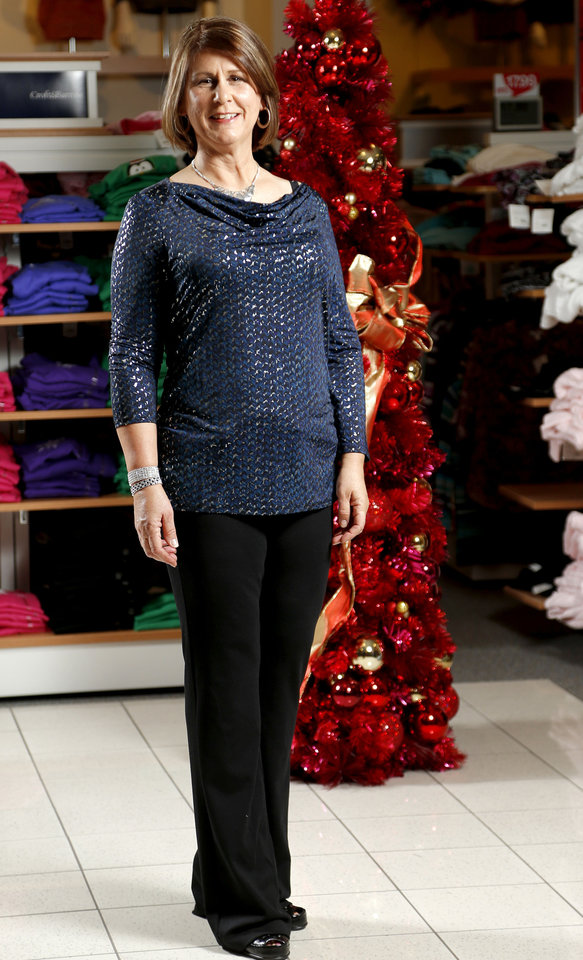 "After her makeover, Lynn Bunting poses for an ""after"" shot at Kohl's in Edmond. Photo by Bryan Terry, The Oklahoman. <strong>BRYAN TERRY</strong>"