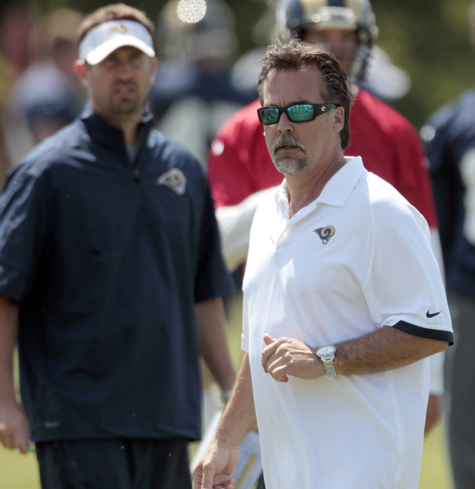 Photo -   St. Louis Rams head coach Jeff Fisher, right, and offensive coordinator Brian Schottenheimer, left, watch during NFL football practice, Wednesday, May 16, 2012, at the team's training facility in St. Louis. (AP Photo/Jeff Roberson)