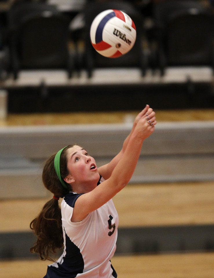 Heritage Hall's Carter Cloud (5) hits the ball during the OSSAA 5A State Volleyball Championship between Cascia Hall and Heritage Hall at Westmoore High School in Moore, Okla., Saturday, Oct. 13, 2012.  Photo by Garett Fisbeck, The Oklahoman