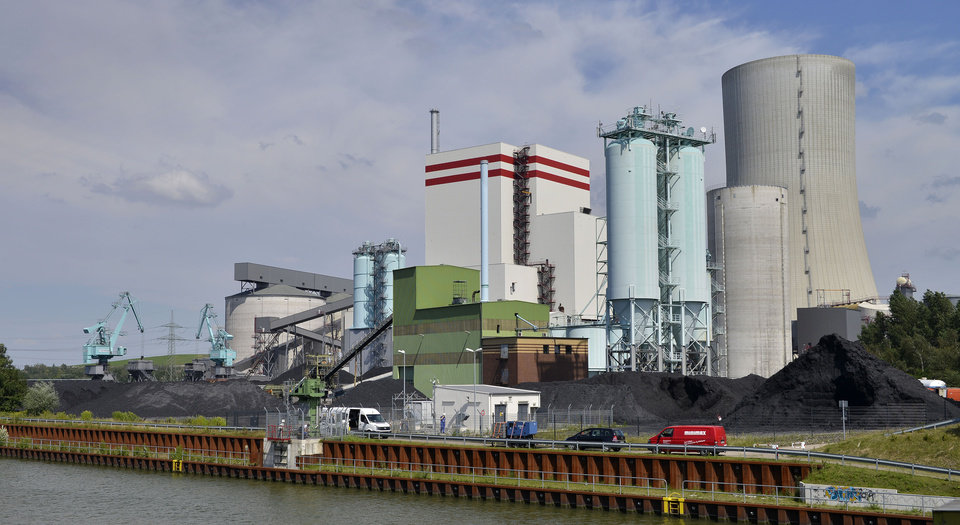 Photo - In this July 24, 2014, the Trianel power plant is pictured in Luenen, Germany. The power plant relies completely on coal imports, about half from the U.S. Soon, all of Germany's coal-fired power plants will be dependent on imports, with the country scheduled to halt all coal mining in 2018 when government subsidies end. (AP Photo/Martin Meissner)